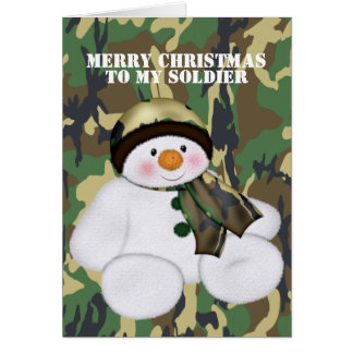 Christmas Soldier Snowman Greeting Card