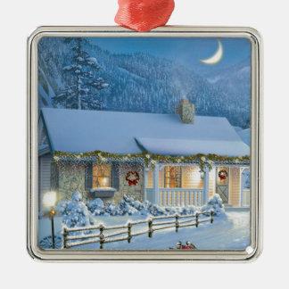 Christmas Solitude Silver-Colored Square Decoration
