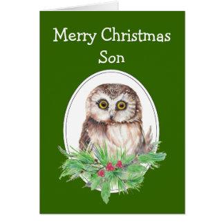 Christmas Son Cute Owl Bird Holly PIne Card