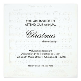 Christmas Song 13 Cm X 13 Cm Square Invitation Card