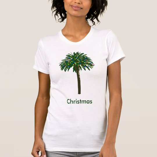 Christmas Southern Palm Tree Ladies T-shirt