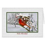Christmas, Spanish, Cardinal Bird, Snow, Card
