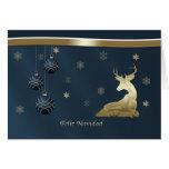 Christmas, Spanish, Golden Deer, Snowflakes Greeting Card