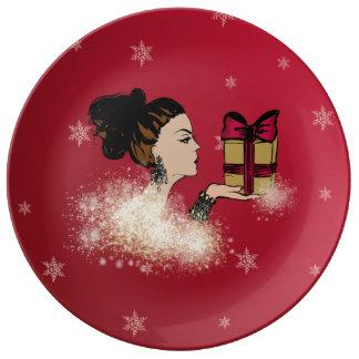 christmas sparkling fashion illustration plate