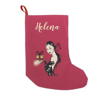 christmas sparkling fashion illustration small christmas stocking