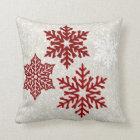 Christmas Sparkling Red Snowflakes Cushion