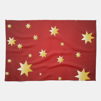 Christmas sparkling stars on red tea towel
