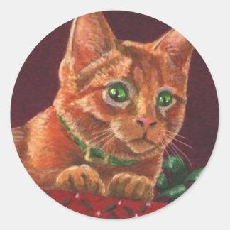 Christmas Sphynx Orange Tabby Round Sticker
