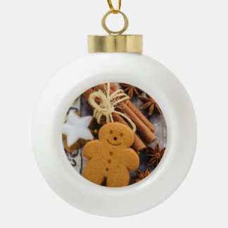 Christmas Spices, Ginger And Anise Stars Ceramic Ball Christmas Ornament