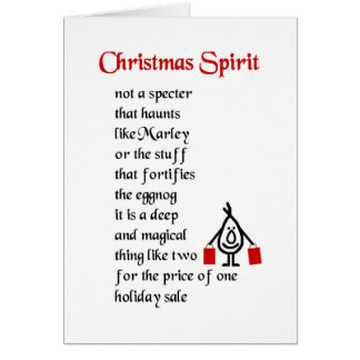 Christmas Spirit - a funny Christmas poem Card