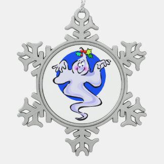 Christmas Spirit Snowflake Pewter Christmas Ornament