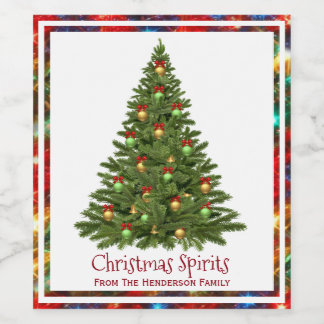 Christmas Spirits Tree Lights Border Wine Label