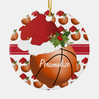Christmas Sport Basketball Santa Hat Christmas Ornament