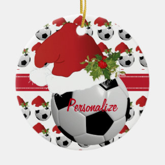 Christmas Sport Soccer Ball Santa Hat Christmas Ornament