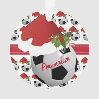 Christmas Sport Soccer Ball Santa Hat Ornament