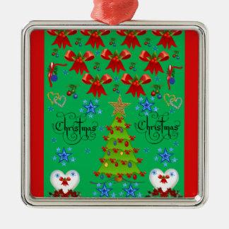 Christmas square premium ornament green