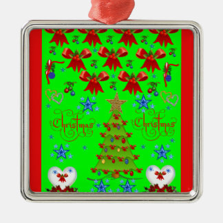 Christmas square premium ornament green, red out