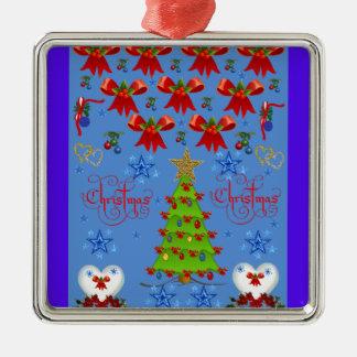 Christmas square premium ornament light blue