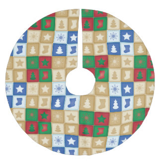 Christmas squares pattern brushed polyester tree skirt