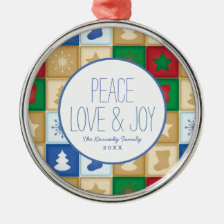 Christmas squares pattern christmas ornament