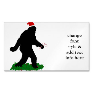 Christmas Squatch - Squatchin' with Candy Canes Magnetic Business Cards