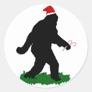 Christmas Squatchin' Classic Round Sticker