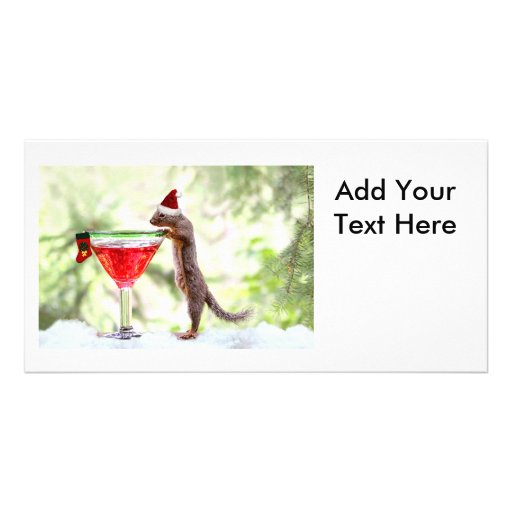 Christmas Squirrel at Happy Hour Photo Card Template