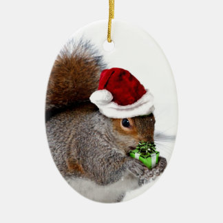 Christmas Squirrel Ceramic Oval Decoration