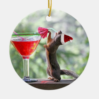 Christmas Squirrel Drinking a Cocktail Round Ceramic Decoration