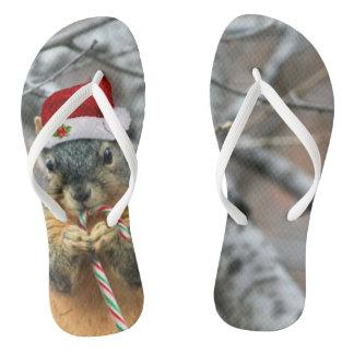 Christmas Squirrel Flip Flops