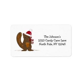 Christmas Squirrel in a Santa Hat Label