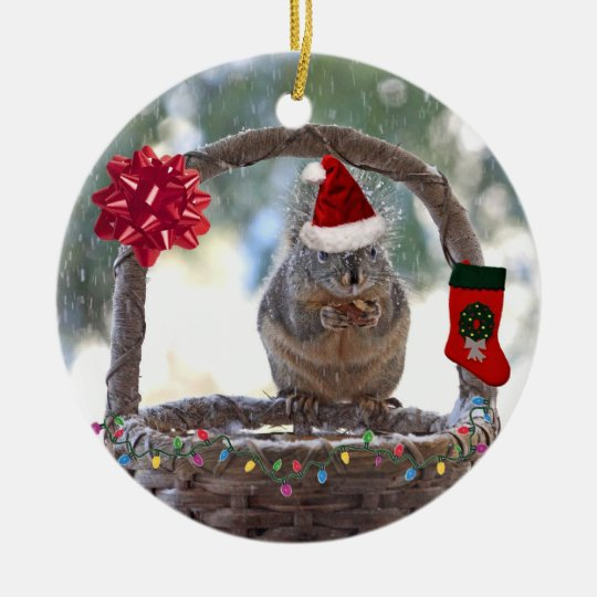 Christmas Squirrel in Snowy Basket Christmas Ornament