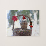 Christmas Squirrel in Snowy Basket Jigsaw Puzzle