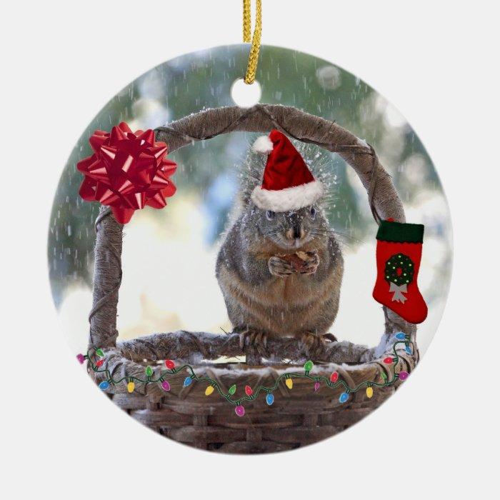 Christmas Squirrel in Snowy Basket Round Ceramic Decoration