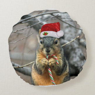 Christmas squirrel round cushion