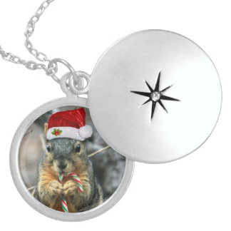 Christmas Squirrel Round Locket Necklace