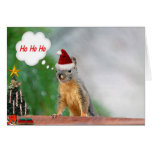 Christmas Squirrel Saying Ho Ho Ho Greeting Card