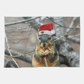 Christmas squirrel tea towel