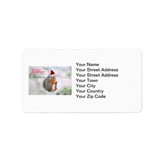 Christmas Squirrel Wearing Santa Claus Hat Address Label