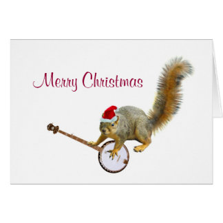 Christmas Squirrel with Banjo Note Card