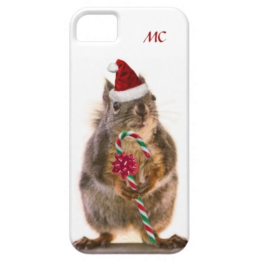 Christmas Squirrel with Candy Cane iPhone 5 Covers