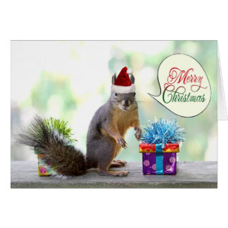 Christmas Squirrel with Christmas Presents Greeting Card
