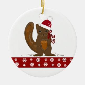 Christmas Squirrel with Snowflake Border Round Ceramic Decoration