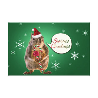 Christmas Squirrel with Snowflakes Stretched Canvas Print