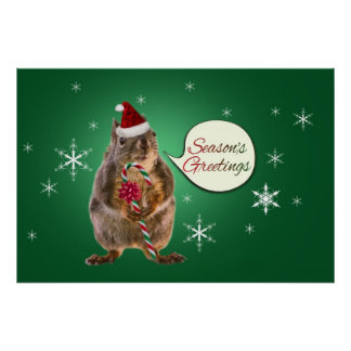 Christmas Squirrel with Snowflakes Poster