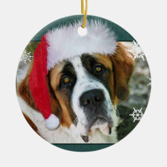 Christmas St. Bernard Dog Photo Christmas Ornament