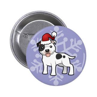 Christmas Staffordshire Bull Terrier 6 Cm Round Badge