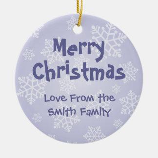 Christmas Staffordshire Bull Terrier (add message) Round Ceramic Decoration