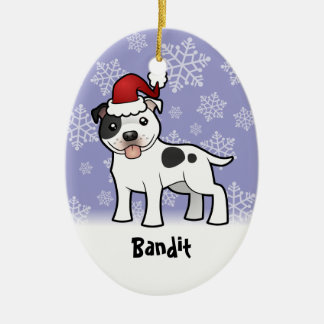 Christmas Staffordshire Bull Terrier (add name) Ceramic Oval Decoration