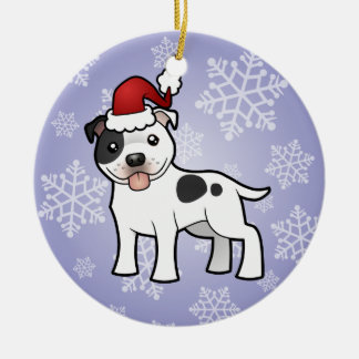 Christmas Staffordshire Bull Terrier Round Ceramic Decoration